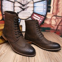 Handmade men brown lace up boot, Men brown high ankle Combat boots