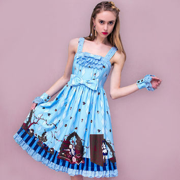 YIGELILA 6925 Latest 2016 New  Women Vintage Lolita Print Strapless Dress Blue