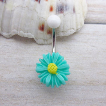Green cute daisy belly boutton rings, flower bellyring, flower belly button ring , flower belly ring ,belly button piercing,unique gift