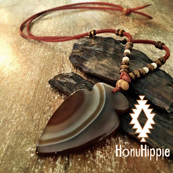 Native american arrowhead necklace, boho hippie yoga jewelry