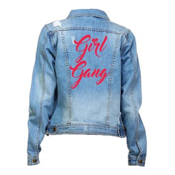 Girl Gang Distressed Red Font Mid Wash Denim Jacket