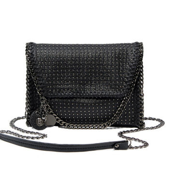 2016 Women's Black Envelope Messenger Bags Small Crossbody Handbags Rivet Skull Shoulder Bag For Ladies  Souvenir Gifts KSB066