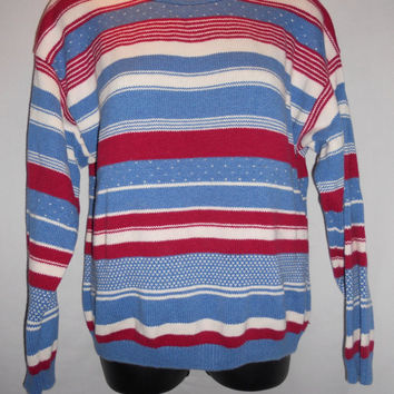 Vintage 80s Blue Red Cream Horizontal Striped Sweater Kawaii Cute