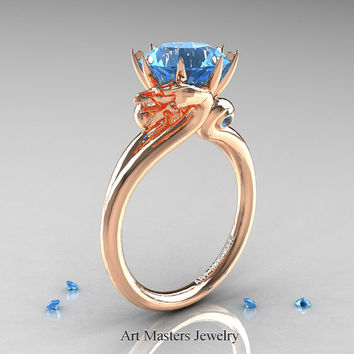 Art Masters 14K Rose Gold 3.0 Ct Aquamarine Dragon Engagement Ring R601-14KRGAQ