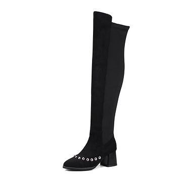 Faux Suede Studded Over the Knee Boots Winter Shoes for Woman 6525