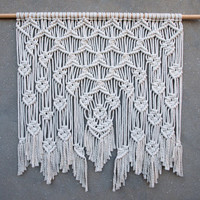 "40"" Large macrame wall hanging Large white tapestry Big bohemian wall decor Woven wall hanging Weaving wall art Boho home decor Hippie decor"