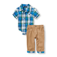 Baby Boys Short Sleeve Plaid Button-Down Bodysuit And Cuffed Pants Set | The Children's Place