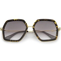 Women's Oversize Metal Fashion Flat Lens Geometric Sunglasses C527
