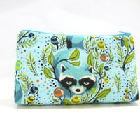 Cosmetic Bag, Animal Zippered Pouch, Raccoon Accessory Pouch, Aqua Pouch