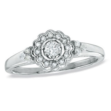 1/5 CT. T.W. Diamond Flower Frame Promise Ring in Sterling Silver