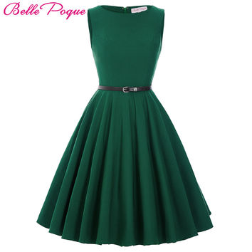 Belle Poque Summer Dress 2017 Female Women Black Red Green Casual Plus Size Tunic 50s 60s Retro Vintage Rockabilly Party Dresses