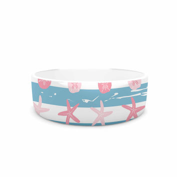 "afe images ""Starfish And Sand Dollar Pattern"" Pink Blue Digital Pet Bowl"