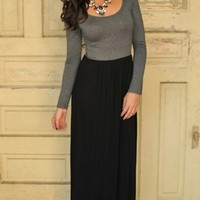 Cross Back Maxi- Grey/Black