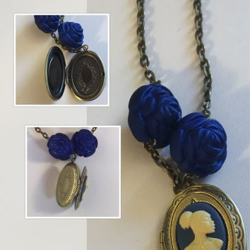 Blue Vintage Rose Beaded cameo locket/Free Shipping