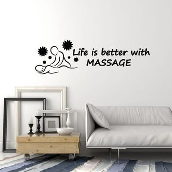 Vinyl Wall Decal Massage Room Spa Salon Relax Quote Saying Art Decor Stickers Mural (ig5553)