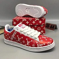 Adidas X LV X Supreme Fashion Casual Women Men Flats Sneakers Sport Shoes Red I-CSXY