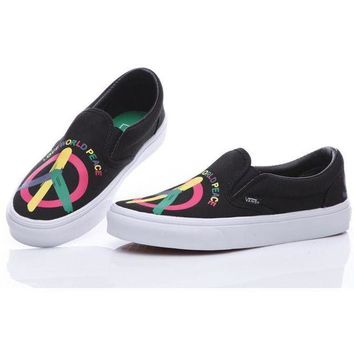 DCCKNQ2 vans peace and love black slip on old skool canvas flats sneakers sport shoes