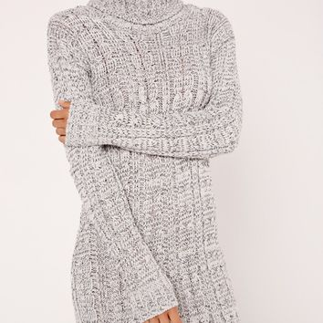 Missguided - Roll Neck Long Sleeve Knitted Dress Grey