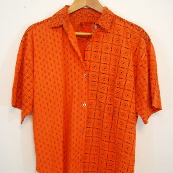Vintage 1990s Orange Patterned Button Up Mens Shirt