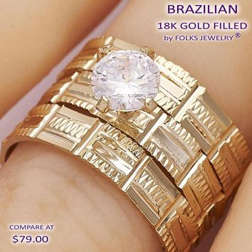 Gold Layered Women Triple Wedding Ring, with White Cubic Zirconia, by Folks Jewelry