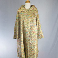 Vintage 1950s 1960s Brocade Evening Coat Show Stopper! Gold  and Jewel Rich Tones