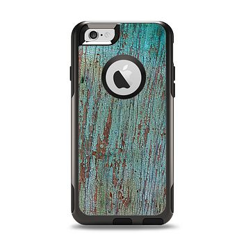 The Chipped Teal Paint on Aged Wood Apple iPhone 6 Otterbox Commuter Case Skin Set