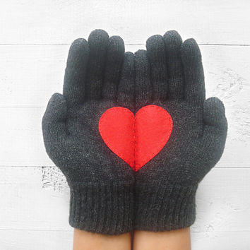 Heart Gloves, Christmas Gift, Dark Gray Gloves, Red Heart, Special Gift, Female, Male, Holiday Gift, Xmas, Love