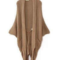 # Free Shipping # Ladies Beige Knitting Cardigans One Size QZ0016be from ViwaFashion
