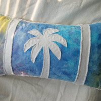 Palm tree bolster pillow cover, rainbow tie dye batik and white denim 12x21