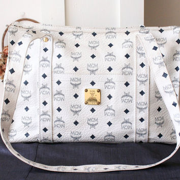 MCM Bag Large Visetos 80s White Navy Shoulder Handbag Authentic