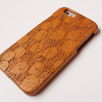 Octopus Carving wood case Wood iPhone 6 case, waves of the sea iphone 6plus wood case, iphone 5 case, iphone 5c case,iphone 4 case
