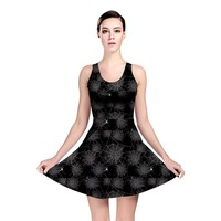 Black Web Spiders Pattern Reversible Skater Dress