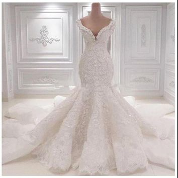 Mermaid Wedding Dresses Chapel Train Wedding Gowns Sexy Sweetheart Lace Wedding Dress