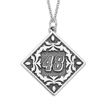 Insignia Collection Nascar Jimmie Johnson ''48'' Stainless Steel Pendant Necklace (Grey)