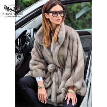 2018 New Real Fur Mink Coat Female Bat With Lapel Mink Fur Coats natural fur Long Fashion Women's Whole Skin Fur Outwear Jacket