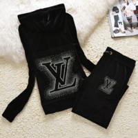 """LV"" New gradient embroider bead piece set auger fashion velvet suit sportswear Black"