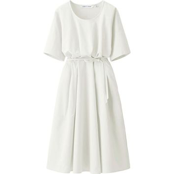 WOMEN LEMAIRE SEERSUCKER SHORT SLEEVE DRESS | UNIQLO
