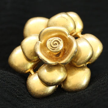 Vintage Mid Century Rose Statement Ring In Gold Tone