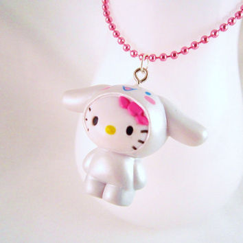White Cinnamoroll Kawaii Puppy Dog Charm Necklace by DoodieBear