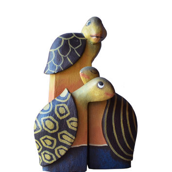 Turtle Figurines - Hand Carved, Painted Wooden Whimsical Trio in Greens and Bali