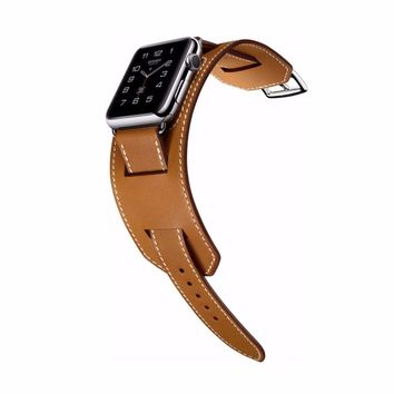 Genuine leather cuff bracelet men/women for apple watch cuff band watch strap 42mm 38mm steel metal clasp leather watchband NEW