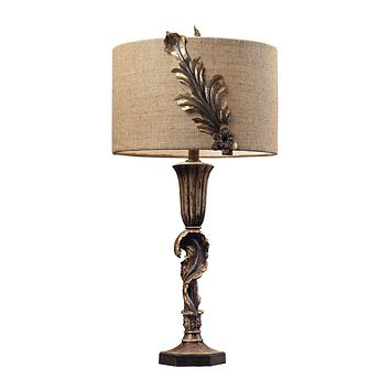 TABLE LAMP WITH METAL FLORAL DÉCOR AND BURLAP SHADE