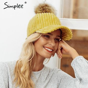 Trendy Winter Jacket Simlpee Corduroy hair ball adjustable baseball caps 2018 Fashion style autumn winter women hat Female casual hat casquette AT_92_12