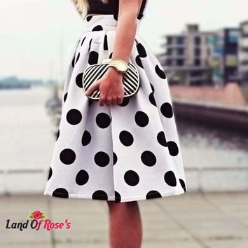 Stretch High Waist Plain Polka Dot cotton Flared Pleated Sexy Skirt