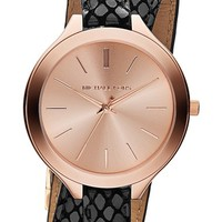 Women's Michael Kors 'Slim Runway' Embossed Leather Strap Wrap Watch, 42mm