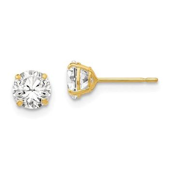 14k Yellow Gold Round CZ Stud Earrings - Various Sizes Available