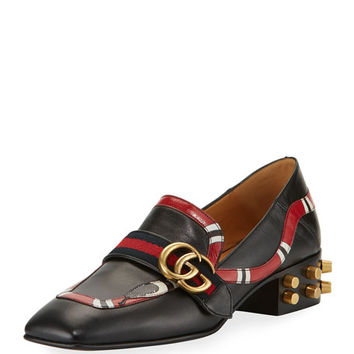 Gucci Yoko Leather Snake Loafer, Black