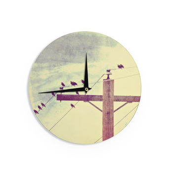 "Sylvia Coomes ""Vintage Birds On A Wire 2 "" Yellow Digital Wall Clock"