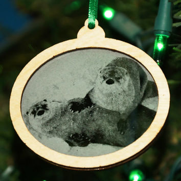 Otter Christmas Ornament, Woodland critter decor, Animal decoration, Handcrafted ornament, Otters in the snow, Otter Stocking Stuffer Gift