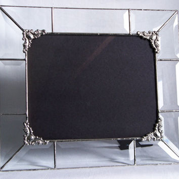 Wedding Gift - Clear beveled glass picture frame 8x10 with corner embellishments